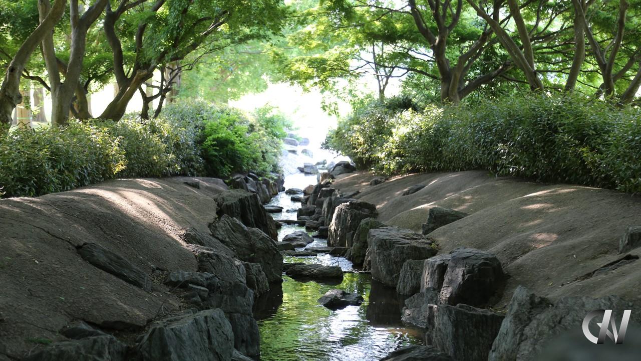 光の方向へ進む滝からの水の流れ(だんちゃんロゴ付き)