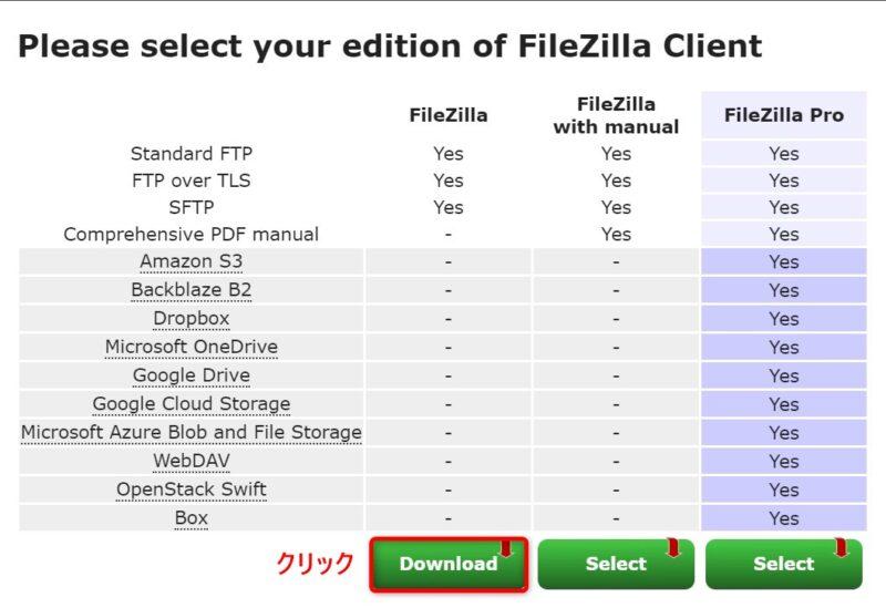 FileZillaダウンロード画面 (エディション選択)