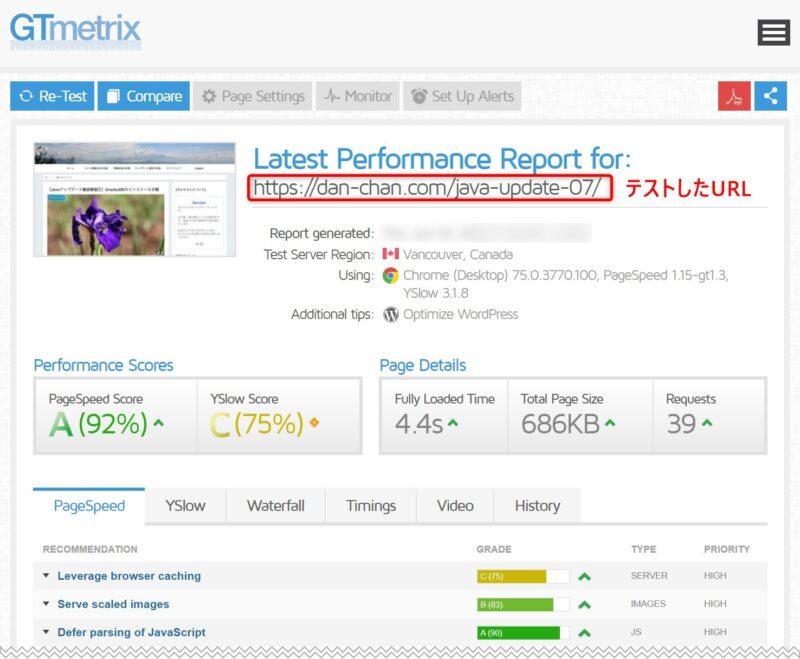 GTmetrixによる修正後のページ・スピードの検証