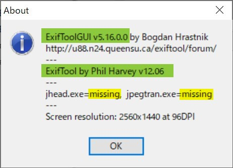 「EXIFToolGUI」のセットアップ検証結果(拡張なし)