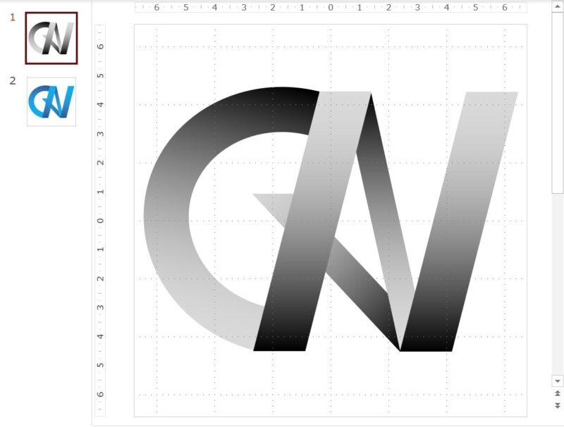 PowerPointを使ったロゴのデザイン例(2色のだんちゃんロゴ)