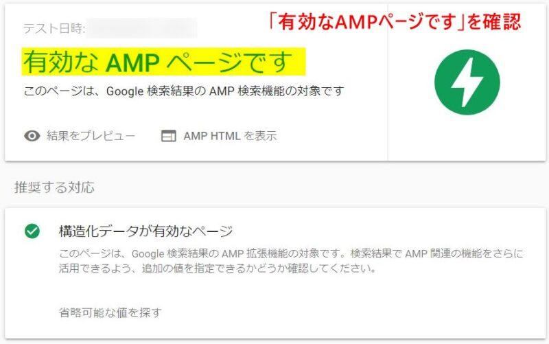 エラーがない場合のAMP Test結果の例