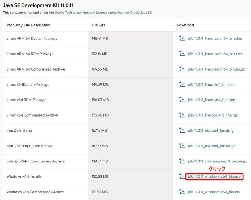 OracleJDK11.0.11(Download)画面