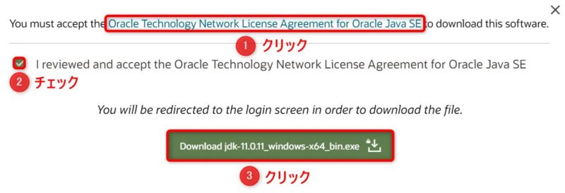 OracleJDK11.0.11(Download)画面(ライセンス確認)