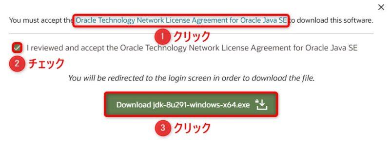 OracleJDK8u291(Download)画面(ライセンス確認)