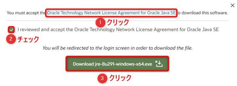 OracleJRE8u291(Download)画面(ライセンス確認)