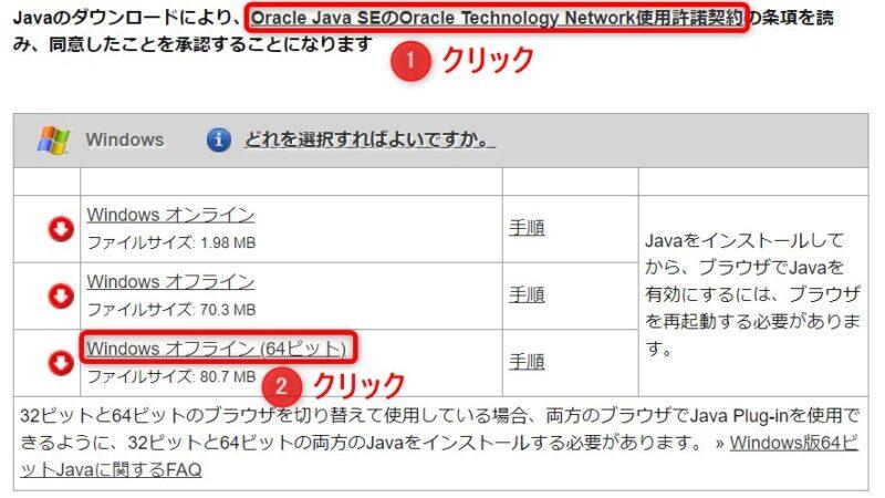 Java.comのダウンロードページ(Windows)