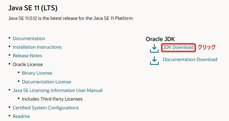 Oracle Java SE 11.0.12(Download)画面