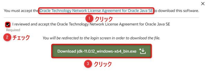 OracleJDK11.0.12(Download)画面(ライセンス確認)