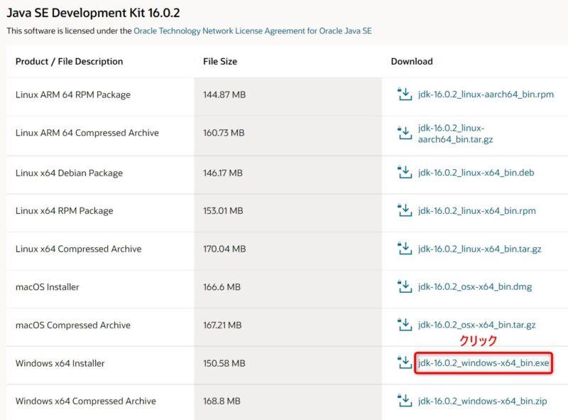 OracleJDK16.0.2(Download)画面