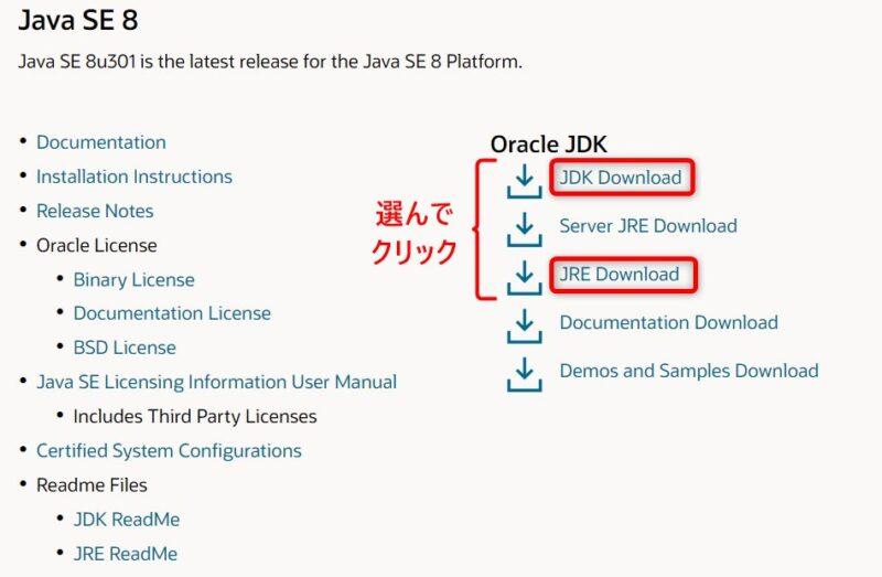 Oracle Java SE 8u301 (Download)画面